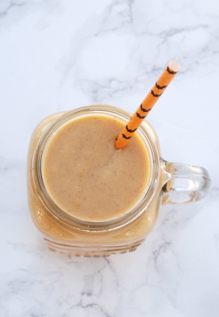 This smoothie tastes just like a big ol' slice of pumpkin pie, but without all the guilt -- it's actually good for you!