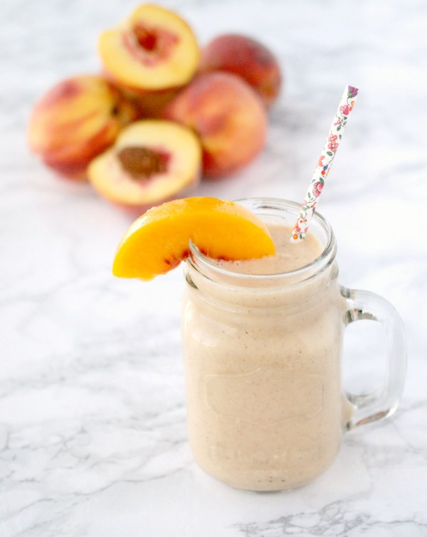 A rich, creamy and delicious smoothie that tastes just like peach cobbler. Perfect for a snack, dessert or breakfast on the go!