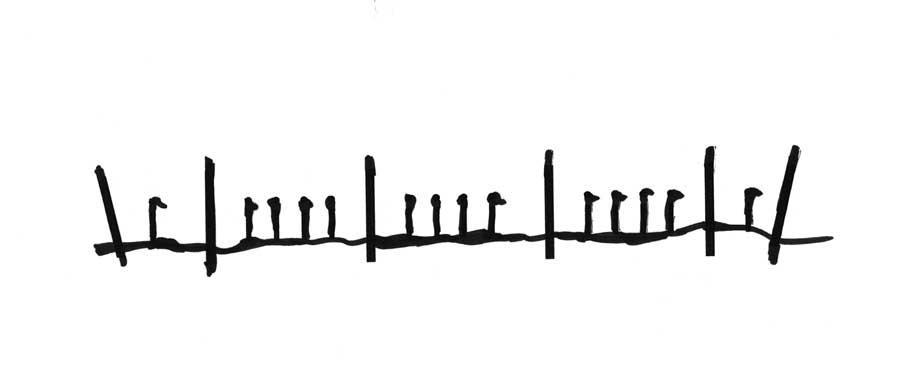 Schema der Rebreihe aus Reben und Stickeln