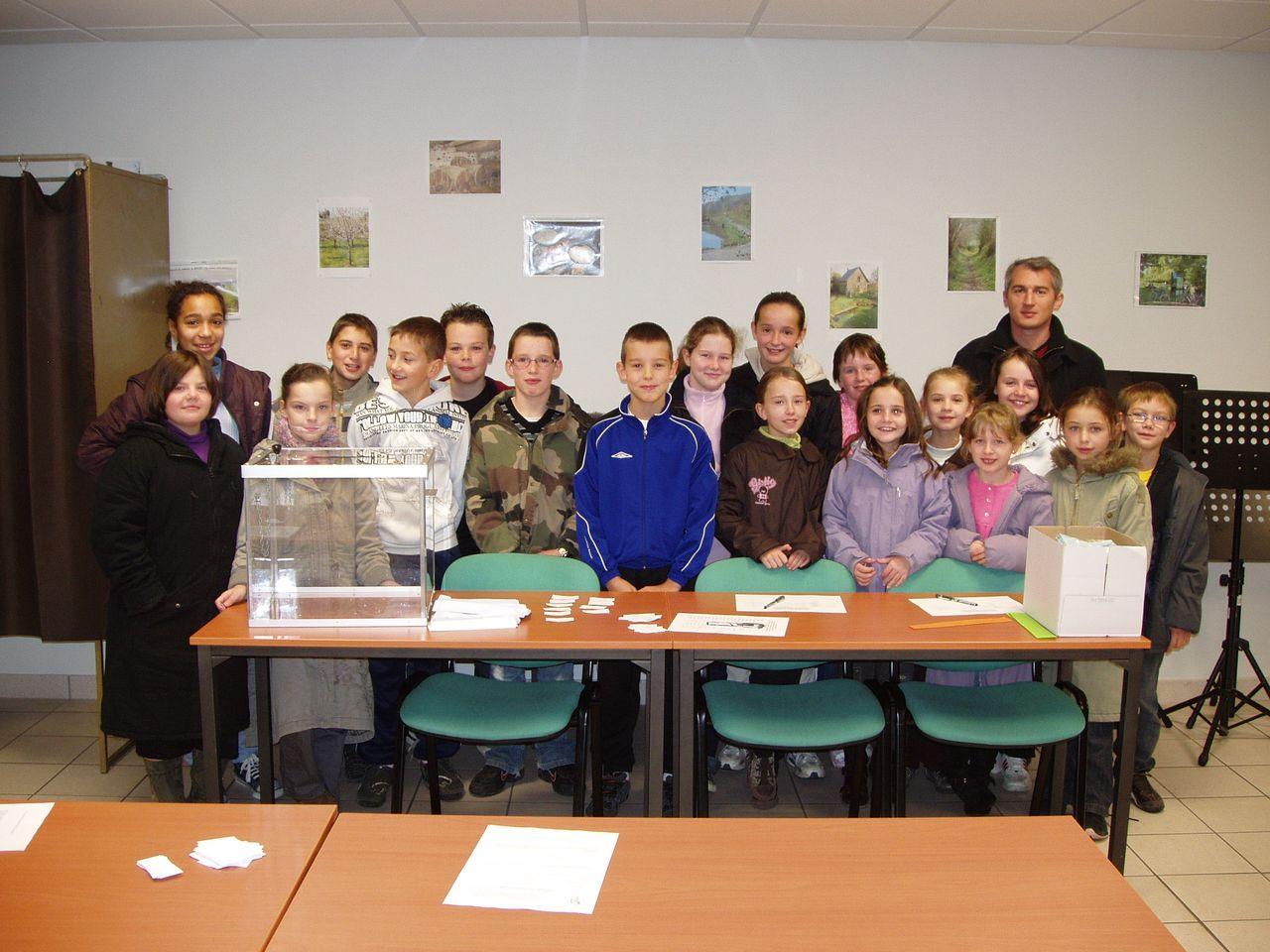 La classe de CM de l'école Notre Dame de Marigny pour l'élection au conseil des jeunes