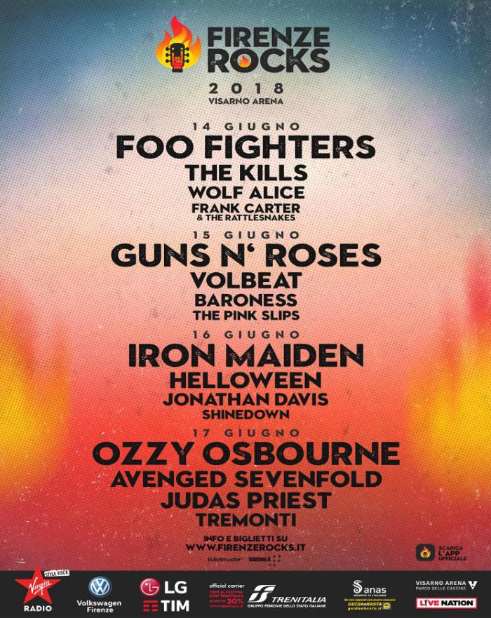 firenze rocks 2018 lineup locandina