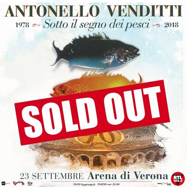 antonello venditti concerto arena verona sold out 23 settembre 2018