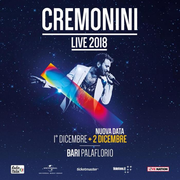 Cesare Cremonini concerto 1 e 2 dicembre Palaflorio Bari