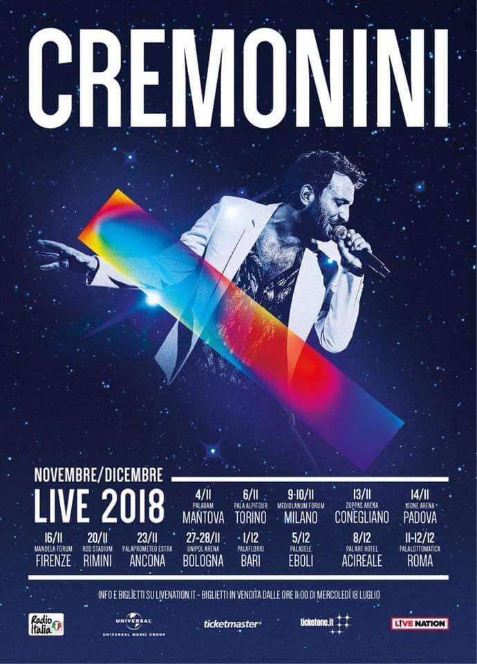 Cesare Cremonini tour palazzetti italia novembre dicembre 2018