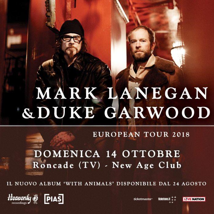 """Mark Lanegan e Duke Garwood nuovo album """"With Animals"""" domenica 14 ottobre 2018 New Age Roncade, Treviso"""