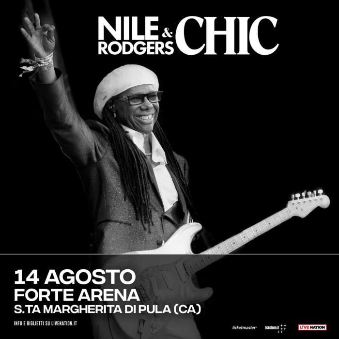 Nile Rodgers Chic, locandina concerto 14 agosto 2018 Santa Margherita di Pula, Cagliari