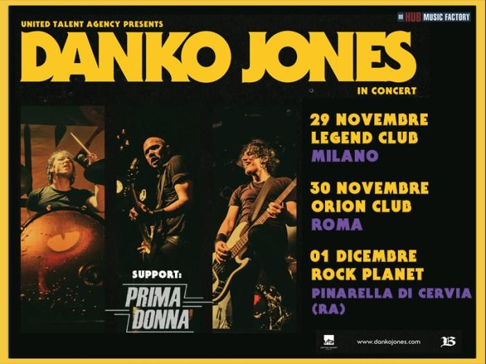 Danko Jones special guest Prima Donna concerti Milano, Roma e Pinarella di Cervia