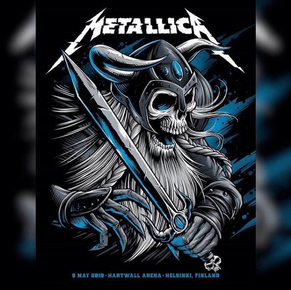 Metallica locandina concerto Helsinki 9 maggio 2018
