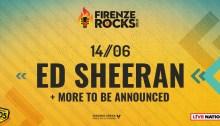 Ed Sheeran headliner della giornata di venerdì 14 giugno 2019 al Firenze Rocks