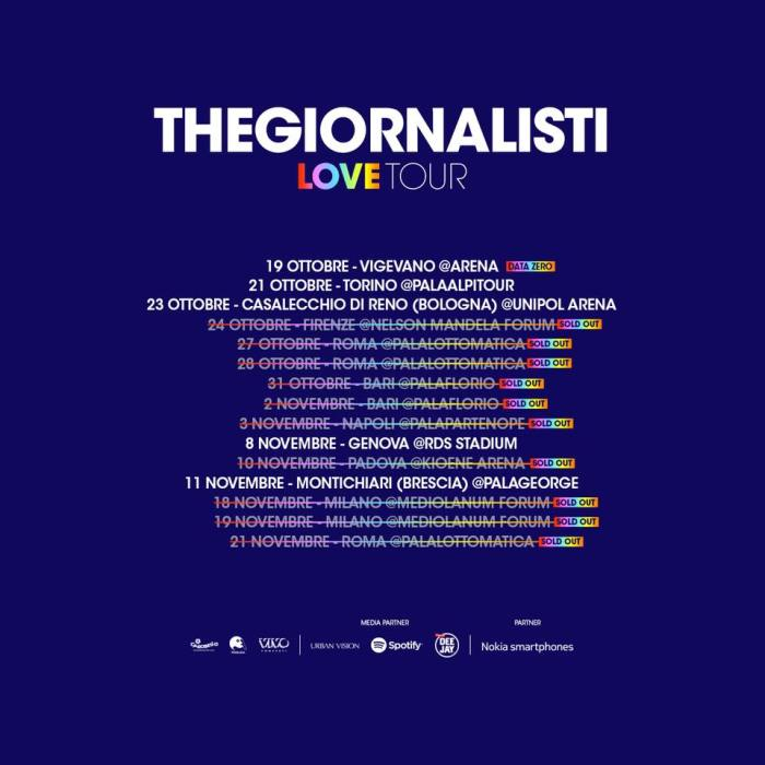 "Thegiornalisti seconda data sold out Mediolanum Forum Milano ""Love Tour""Thegiornalisti seconda data sold out Mediolanum Forum Milano ""Love Tour"""