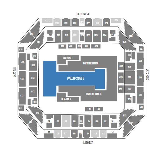 "Mappa concerto U2 11, 12, 15 e 16 ottobre Mediolanum Forum Milano ""Experience + Innocence Tour"""