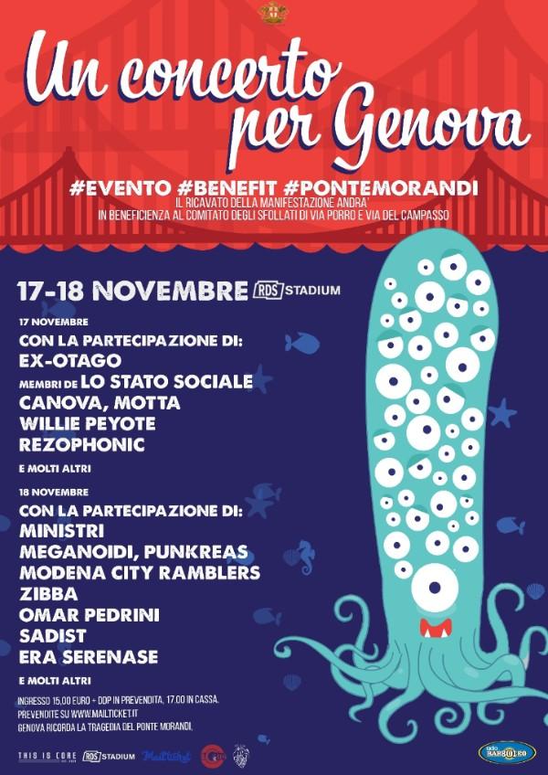 """17 e 18 novembre """"Un Concerto Per Genova"""" all'RDS Stadium di Genova con Ex-Otago, Ministri, Canova, Motta, Lo Stato Sociale e molti altri"""