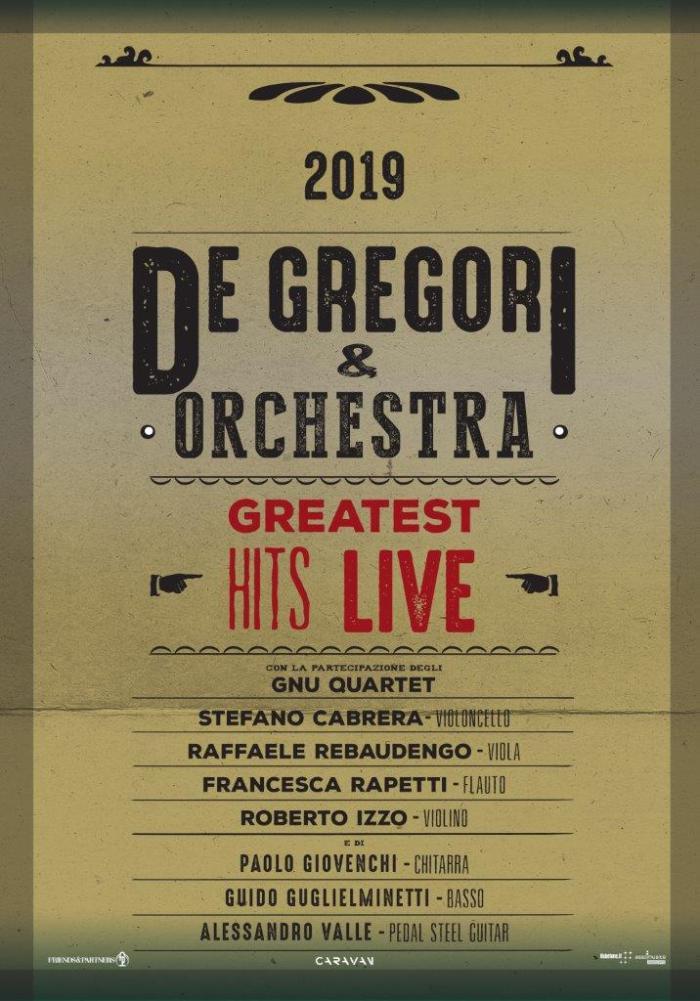 De Gregori in concerto con orchestra nell'estate 2019
