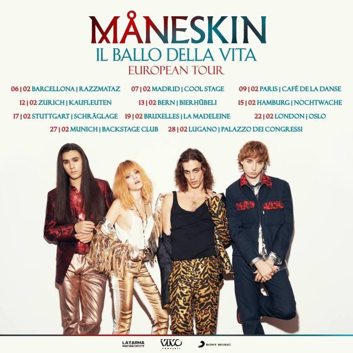 """I Maneskin hanno annunciato il tour europeo per l'album d'esordio """"Il Ballo Della Vita"""""""