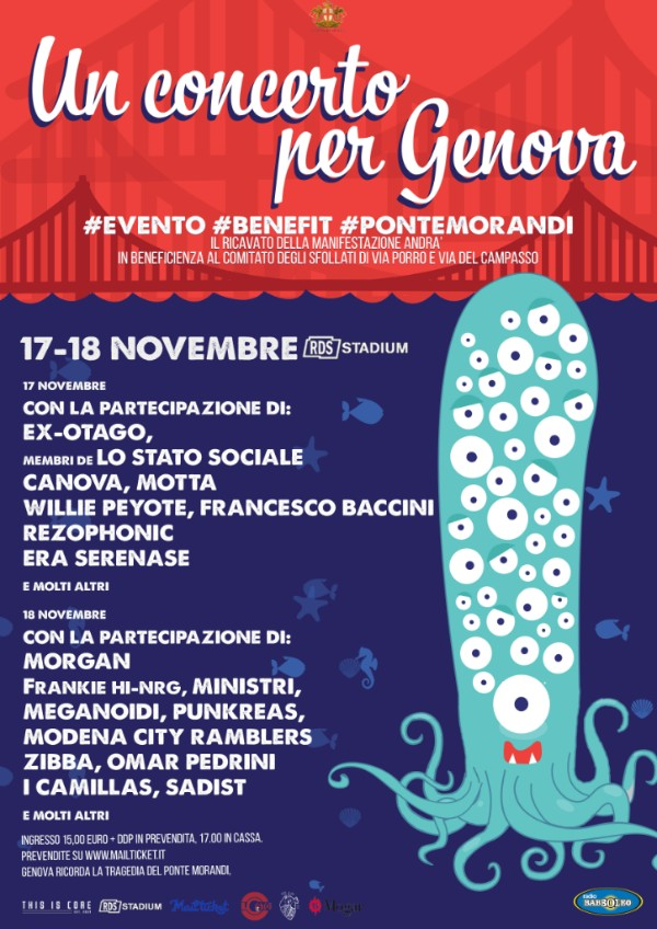 Anche Morga, Frankie Hi-NRG, Francesco Baccini e I Camillas per Un Concerto Per Genova il 17 e 18 novembre