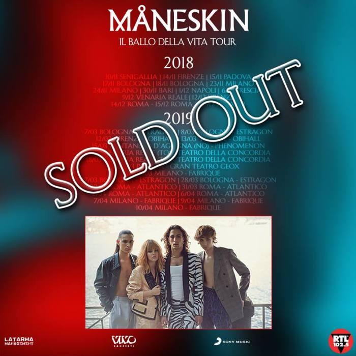 Maneskin, tutti i concerti del 2019 nei club sono sold out