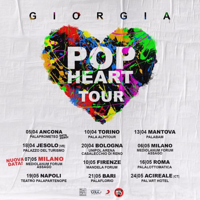 """Giorgia, elenco date """"Pop Heart Tour"""""""