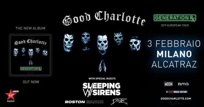 3 febbraio Good Charlotte dal vivo all'Alcatraz di Milano