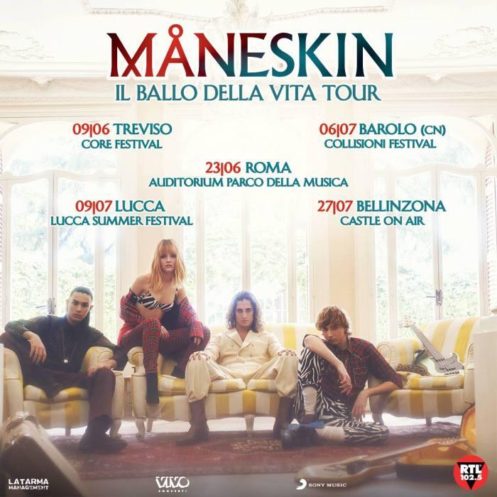 """Le prime date per l'estate 2019 de """"Il Ballo Della Vita Tour"""" dei Maneskin"""