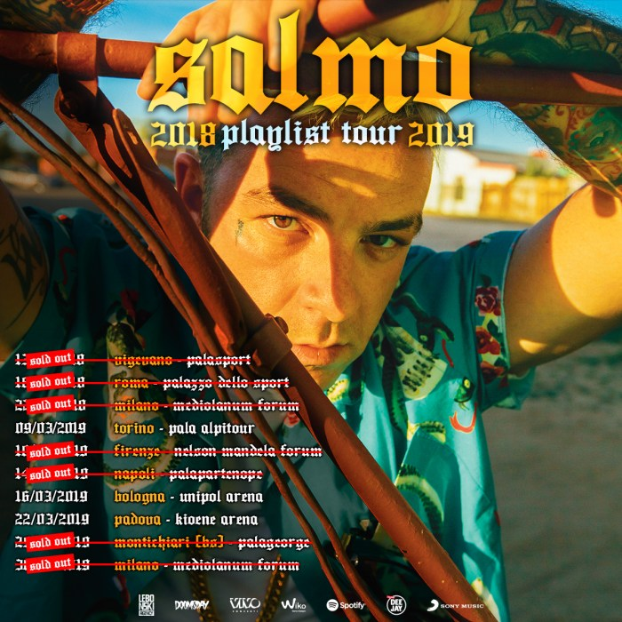 "Sold out a Firenze, Napoli e Brescia per il ""Playlist Tour 2019"" di Salmo"