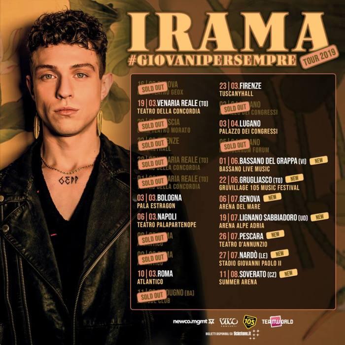 """Le prime date estive del """"Giovani Per Sempre Tour"""" di Irama"""