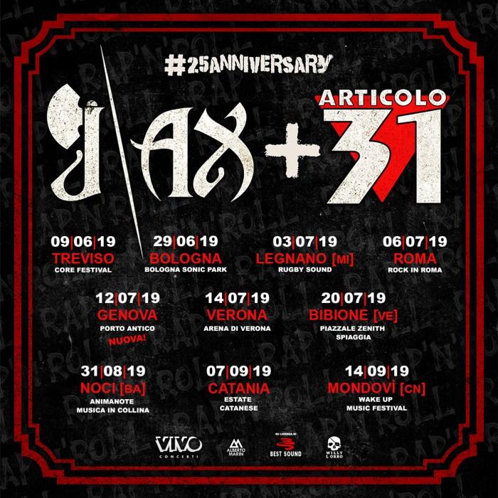 J-Ax + Articolo 31 in concerto il 12 luglio a Genova
