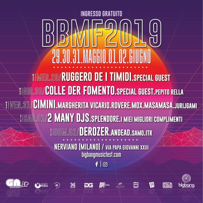 Big Bang Music fest 2019 programma e lineup