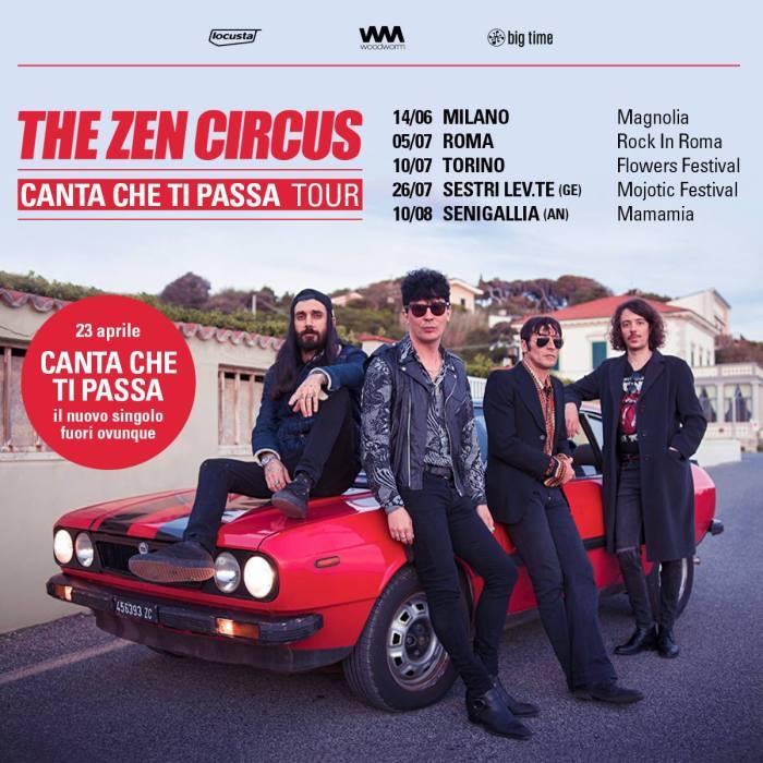 """The Zen Circus cinque concerti estivi per il """"Canta Che Ti Passa Tour"""""""