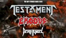 "Testament, Exodus, Death Angel insieme il 25 febbraio 2020 a Trezzo sull'Adda on ""The Bay Strikes Back 2020"""