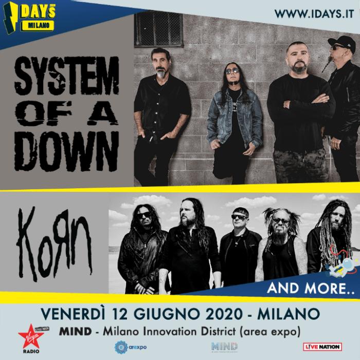 System of a Down e Korn insieme venerdì 12 giugno a Milano per I-Days 2020