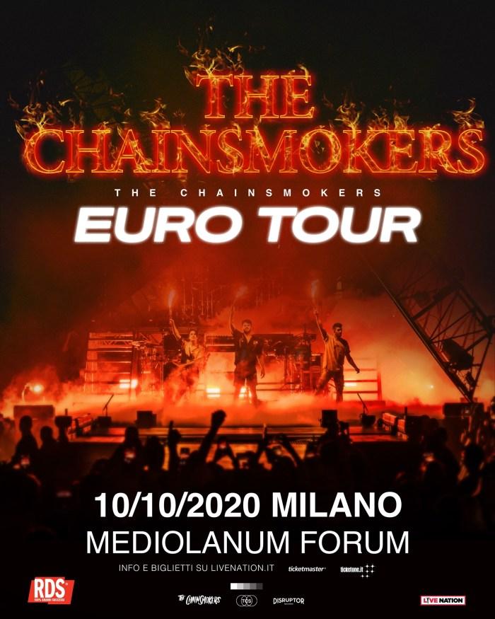 The Chainsmokers concerto 10 ottobre Mediolanum Forum Milano locandina