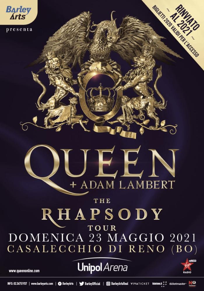 Queen + Adam Lambert concerto 23 maggio 2021 Unipol Arena Bologna