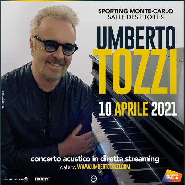 """""""Songs"""" è il primo show acustico di Umberto Tozzi che suonerà per i musicisti e il suo staff da Monte Carlo"""