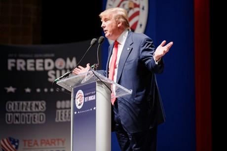 Donald Trump At Podium - Photo by Michael Vadon