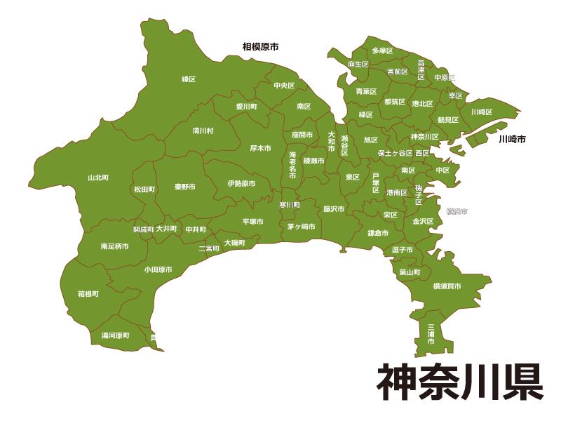神奈川県内で横浜市瀬谷区がどこに位置しているのかが一目で分かり、地図を示すことでweb閲覧者に過去に市町村合併があった時の参考にしてもらうための地図