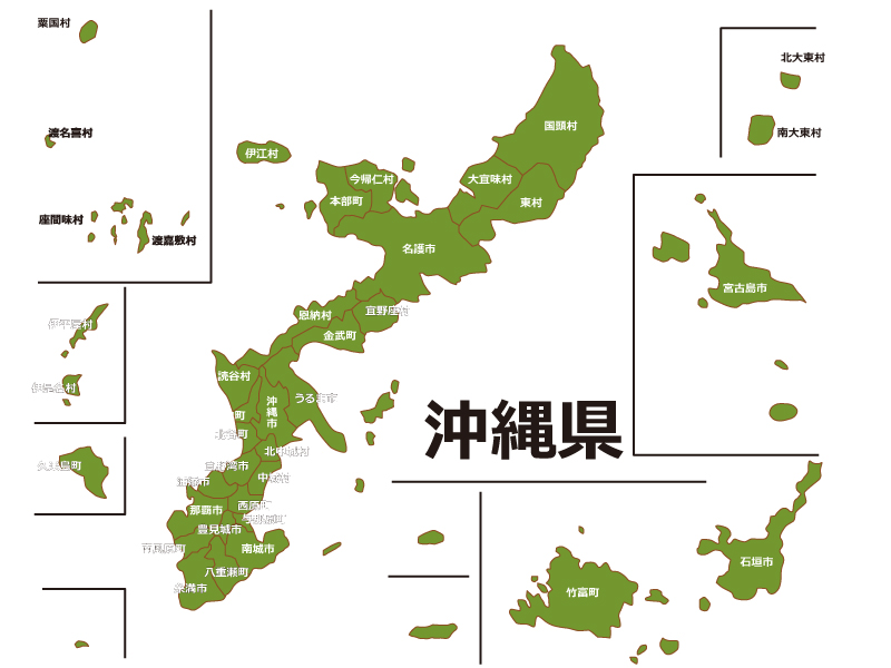 沖縄県内で八重山郡竹富町の位置をWEB閲覧者にわかりやすいように案内している地図画像