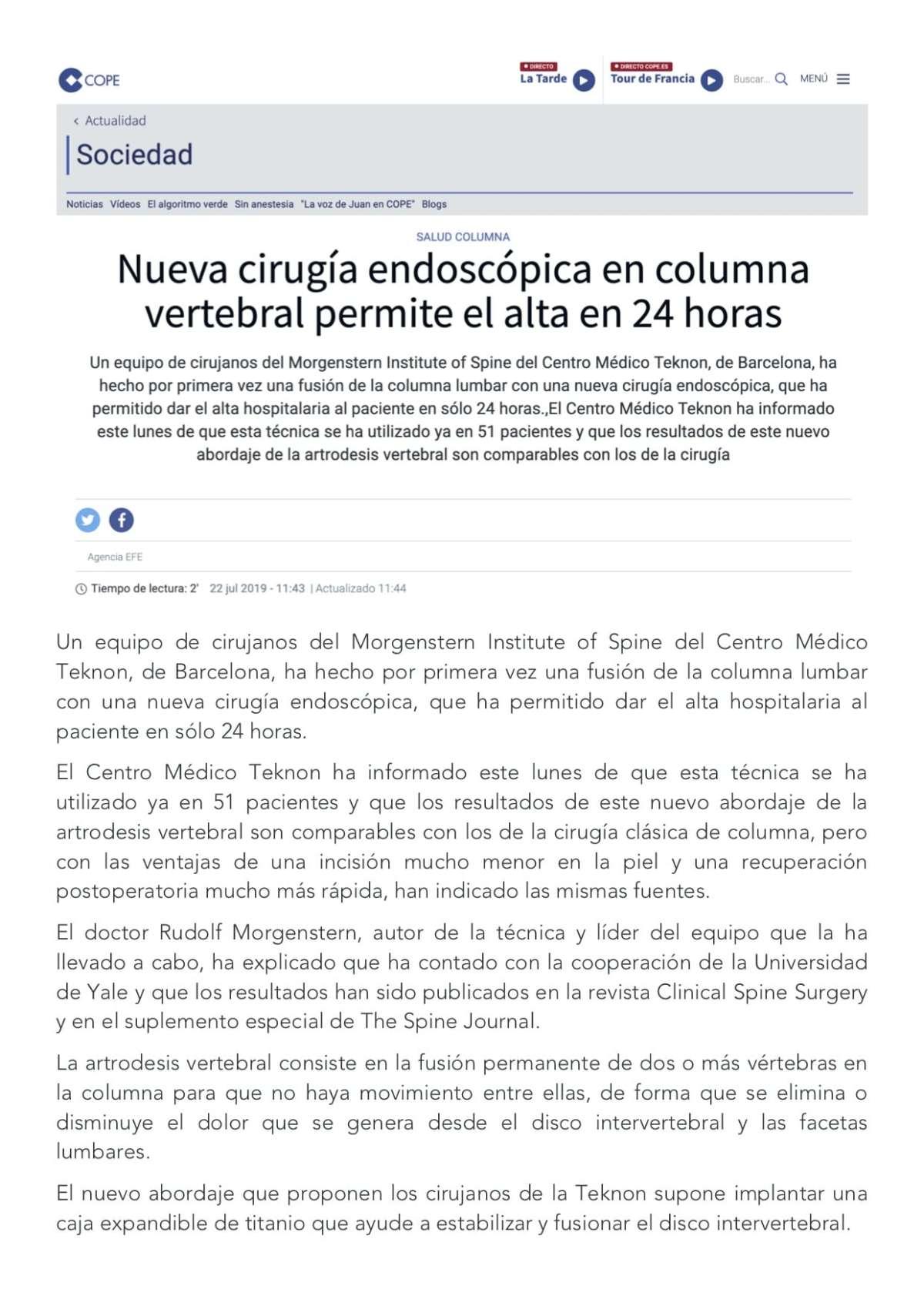 COPE - Un equipo de cirujanos del Morgenstern Institute of Spine del Centro Médico Teknon