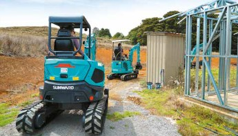 Mini excavator at work