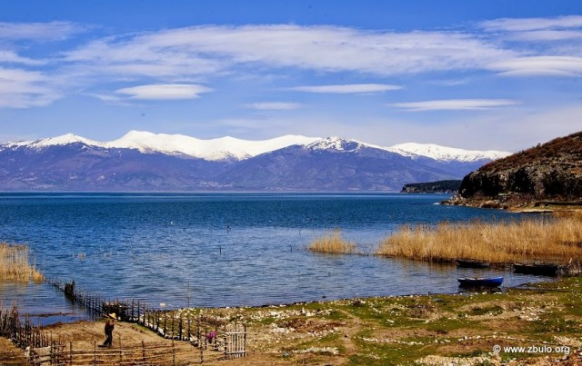 View from Gollomboc to snow-covered Baba Mountains in Macedonia, the peak of Pelister (left) stands at 2.601 m.