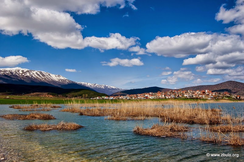 View over the bay to Gorica e Vogel (the small Gorica) surrounded by flood plains.