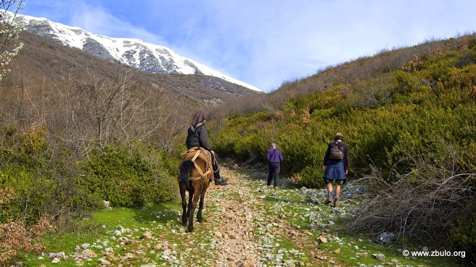 A horse rider is passing the party on the higher altitude trail towards the plateua