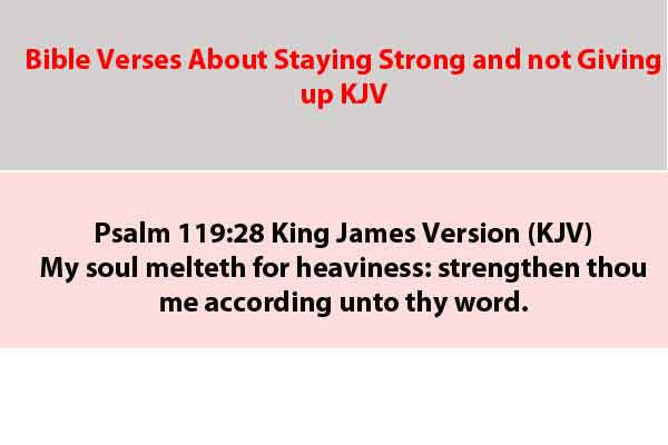 Bible Verses About Staying Strong and not Giving up KJV