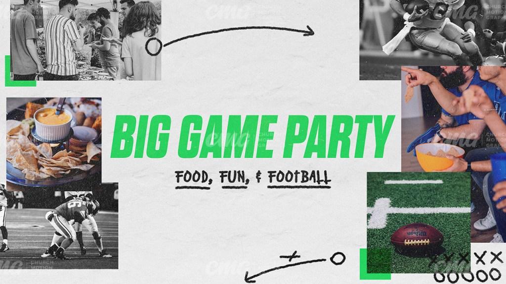Big Game Party Football Play Sketch Photos-Subtitle