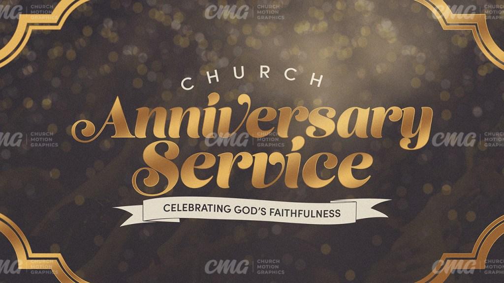 Church Anniversary Service Gold Brown Script Frame Bokeh-Subtitle