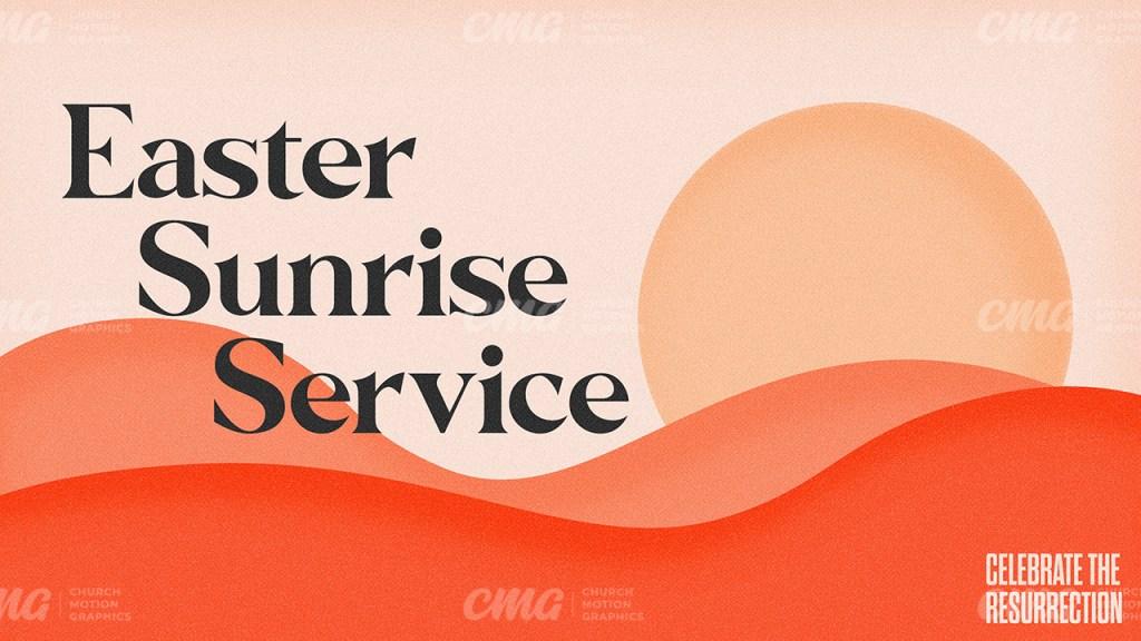 Easter Sunrise Service Simple Hills Sun Illustration-Subtitle