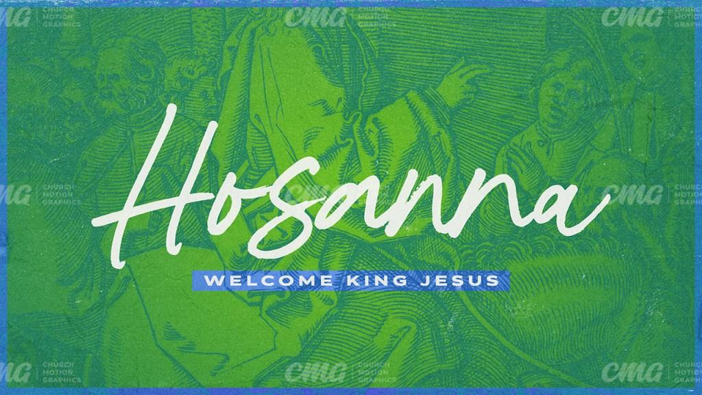 Hosanna Palm Sunday Donkey Illustrated Green Duotone-Subtitle