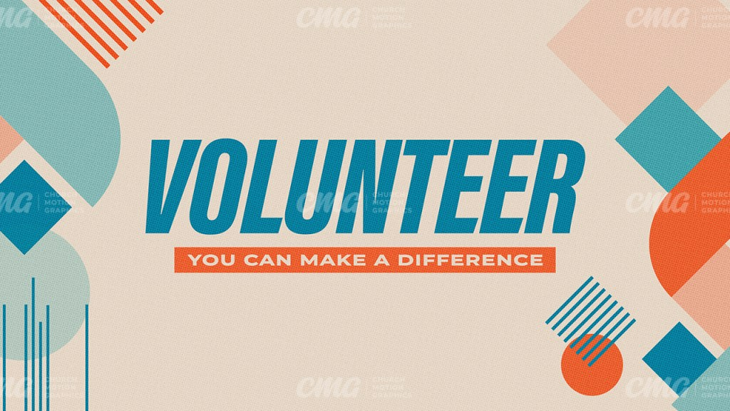 Volunteer Geometric Shapes Blue Orange-Subtitle