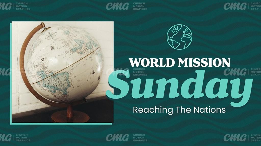World Mission Sunday Retro Teal Waves-Subtitle