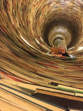 The crazy spiral bookwell at the Prague library