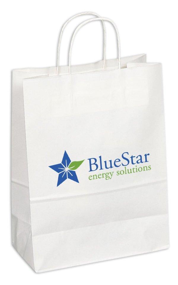 White Kraft Paper Shopping Bag - EnduraPack